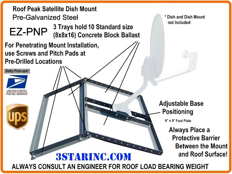 Non Penetrating Dbs Dss Pitched Roof Mount 3 Star