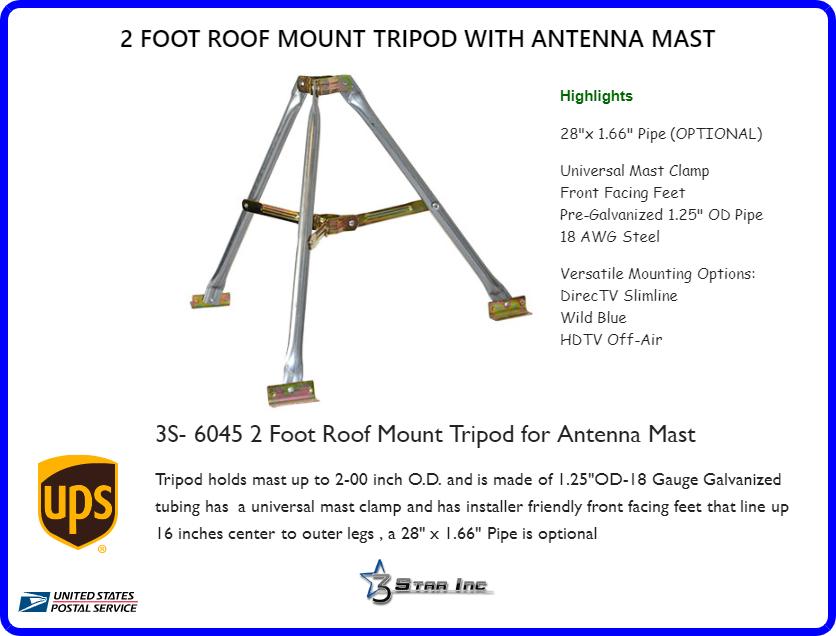 "3/' ft Tripod Roof Mount for 1.75/"" inch OD Satellite TV Antenna Mast VMP TR-36"