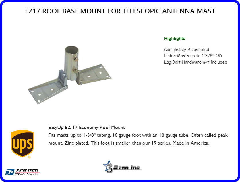 Ez17 Roof Base Mount For Telescopic Antenna Mast 3 Star Incorporated