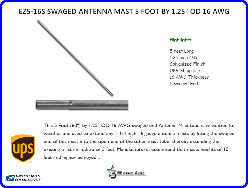 EZ5-16S Swaged Antenna Mast 5 Foot by 1 25