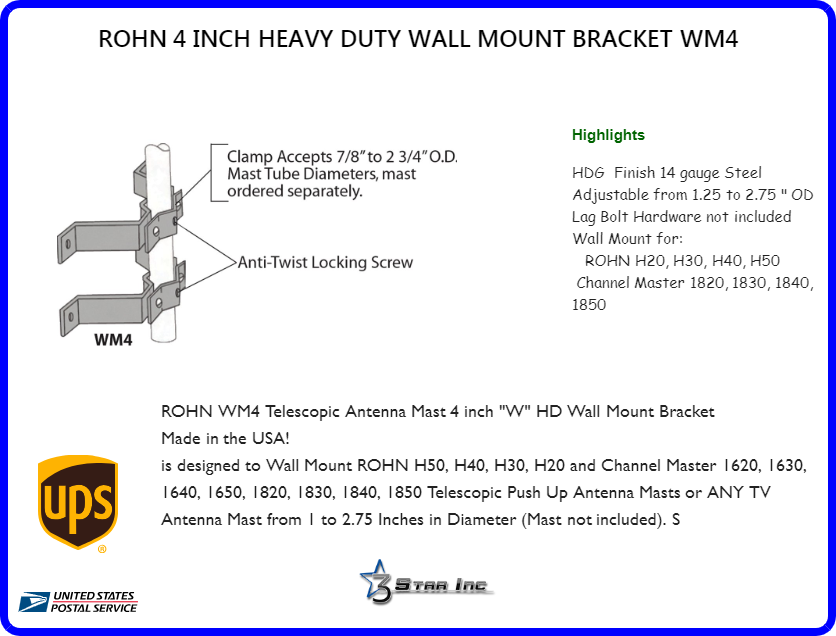 Includes Lag Bolts 6 Inch Heavy Duty Wall Mount Set of 2 Brackets